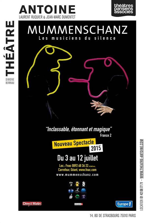 AFFICHE Mummenschanz-les-musiciens-du-silence-Théâtre-Antoine-Paris-nouveau-spectacle-2015-du-3-au-12-juillet