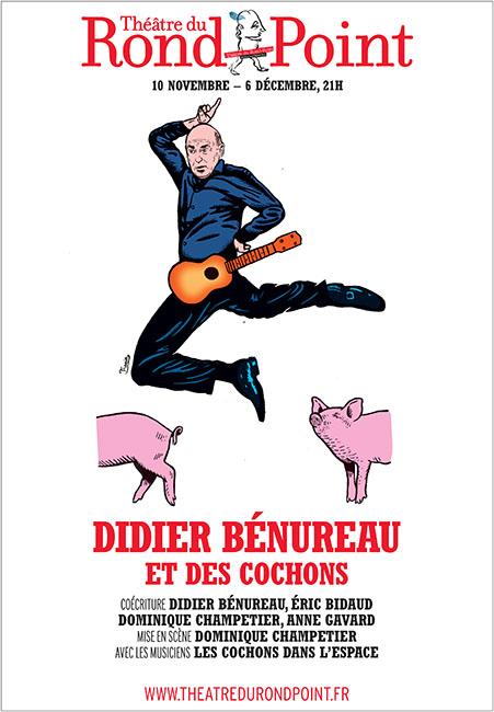 BENUREAU ET DES COCHONS AU ROND POINT Affiche