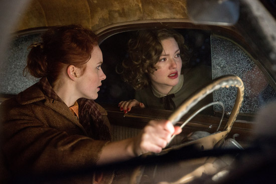 Rachel Brosnahan is Bea and Holliday Grainger is Miriam in Disney's THE FINEST HOURS, a heroic action-thriller based on the extraordinary true story of the most daring rescue in the history of the Coast Guard.