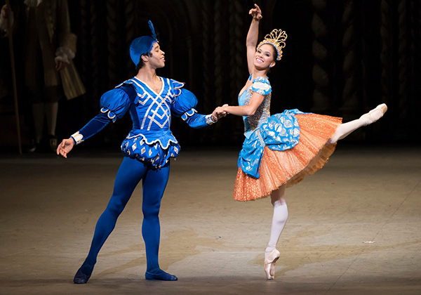 Misty Copeland (Princess Florine) and Gabe Stone Shayer (Bluebird) in Alexei Ratmansky's The Sleeping Beauty.  Photo: Doug Gifford.