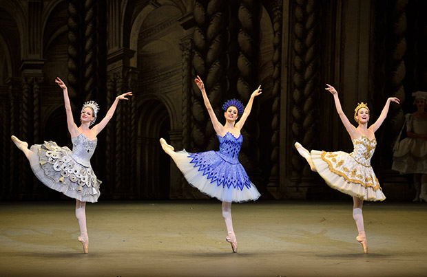 Lauren Post (Silver Fairy), Melanie Hamrick (Sapphire Fairy) and Stephanie Williams (Gold Fairy) in Alexei Ratmansky's The Sleeping Beauty.  Photo: Gene Schiavone.