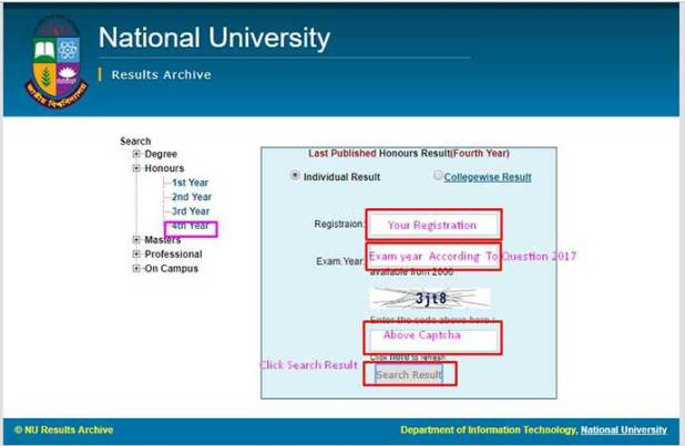 Honours 4th Year Result online