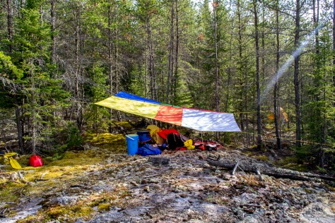 Our set-up just in case it stormed - backcountry camping, Thicketwood Lake, Woodland Caribou Provincial Park
