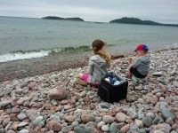 Cobble stone beach, Gargantua Bay, Lake superior provincial park