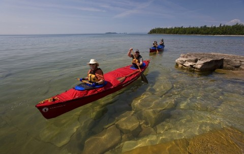 paddlers at Sleeping Giant