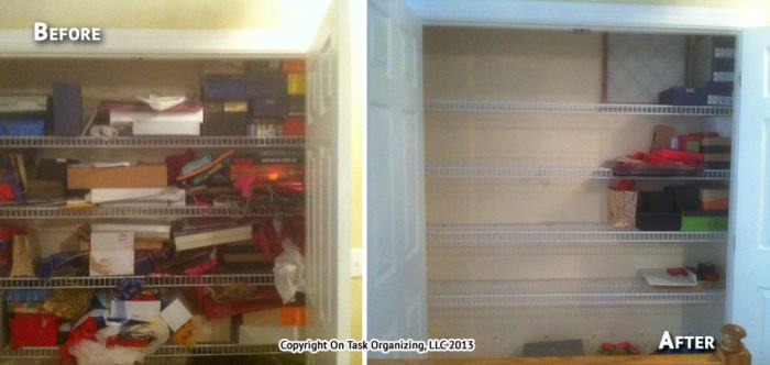 A gift closet before & after an organizing session with On Task Organizing, LLC. A great amount of space was reclaimed after sorting through this closet.