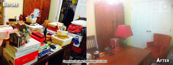 This home office was decluttered during a 3 hour organizing session with On Task Organizing, LLC.