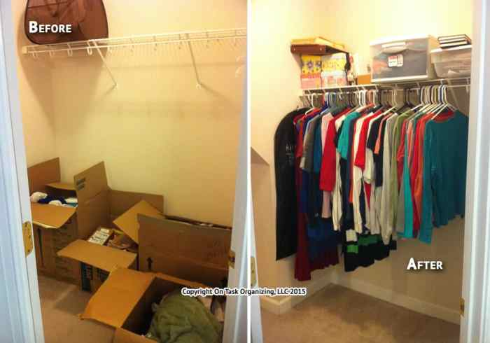 Before and after photos of a bedroom closet unpacked and organized by On Task Organizing, LLC in Raleigh, NC.