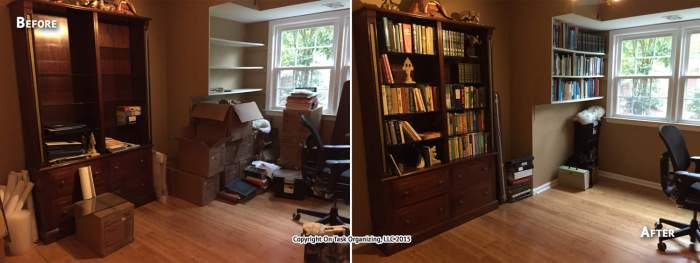 Before and after photos of a home office unpacked and organized by On Task Organizing, LLC of Raleigh, NC.