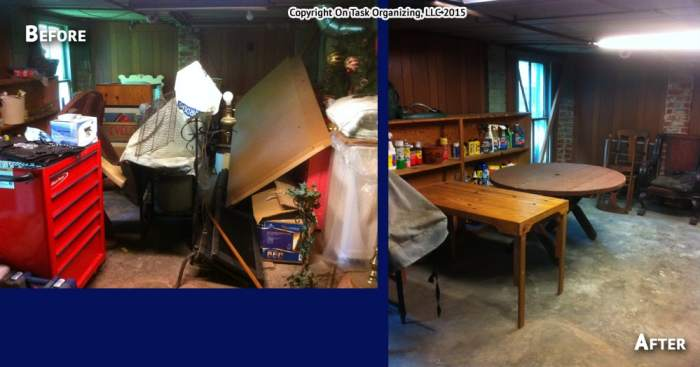 Before and after photos of an area of a basement organized by On Task Organizing, LLC in Raleigh