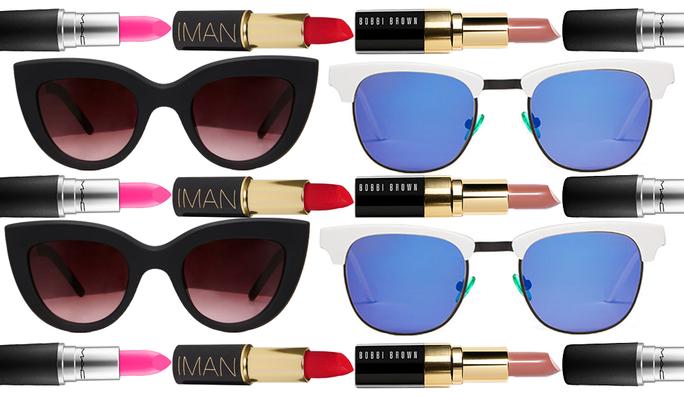 نظارات شمسية و أحمر شفاه