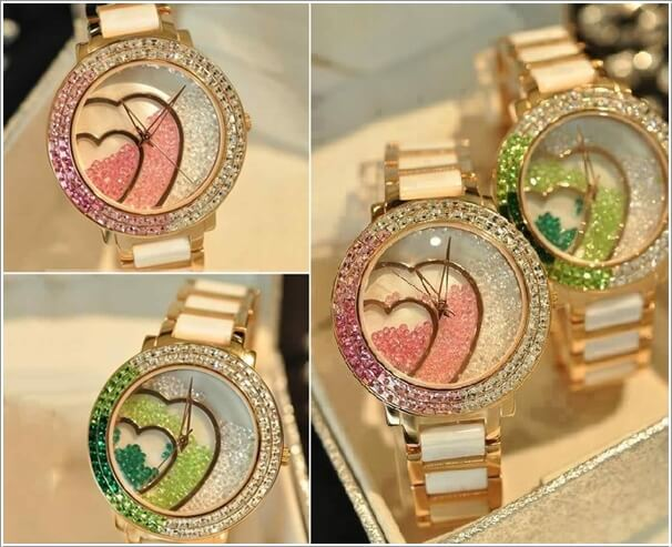 ساعة من الكريستال مع إضافة شكل قلب باللون الأخضر و الزهري