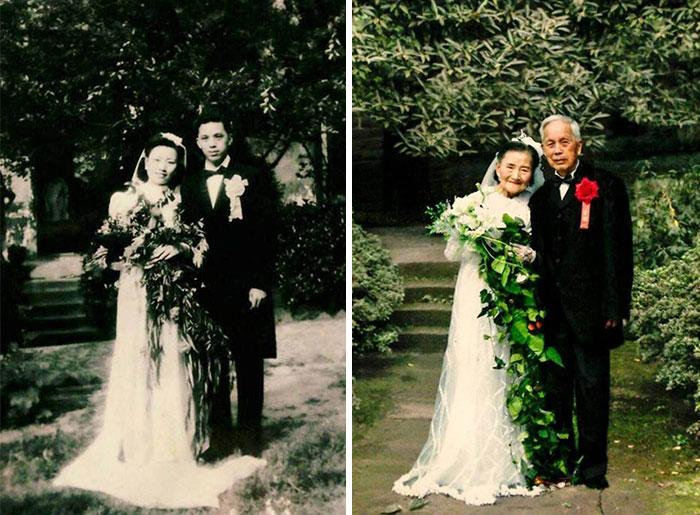 زوجان يعيدان زفافهما زفافهما بعد مرور 70 عام