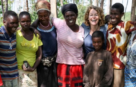 Kate Humble with the village wives