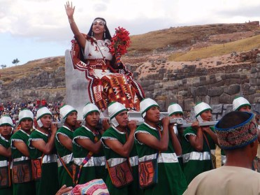 The Inca Queen is also part of the ceremony and is carried in to greet crowds at Saxsahuama Temple. Photo credit: jspix1
