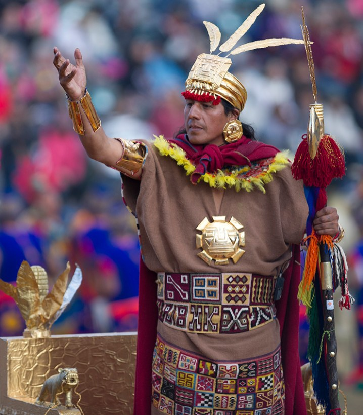 At nine o'clock in the morning of the 24th the Inti Churin, the son of the sun, appears and extends an invitation to people to attend the ceremony at Sacsayhuaman. Photo credit: Hannes Rada
