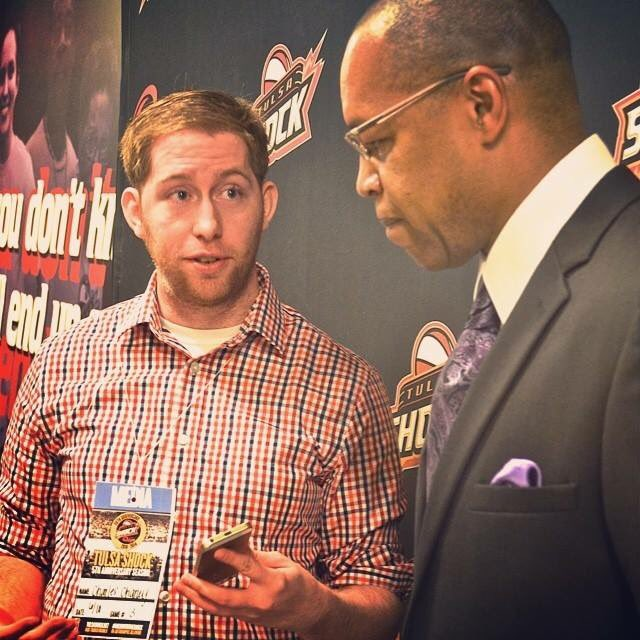 Chuck Chaney, left, with Tulsa Shock head coach Fred Williams