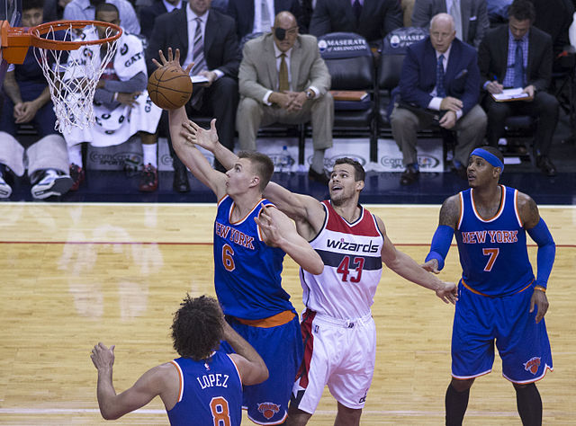 No. 4 overall pick Kristaps Porzingis has adeptly handled his rookie season thus far (Keith Allison/Creative Commons).