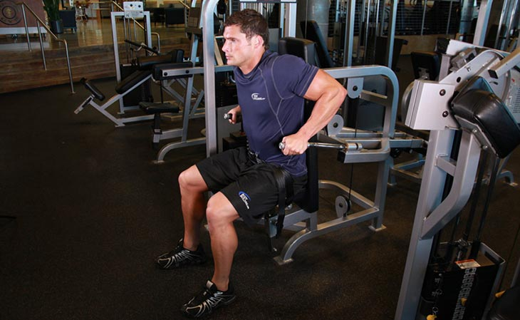 Man Using A Seated Dip Machine For Triceps