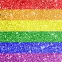 Gay pride flag painted on
