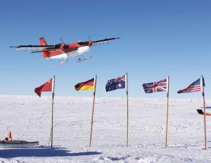 antarcticplaneandflags