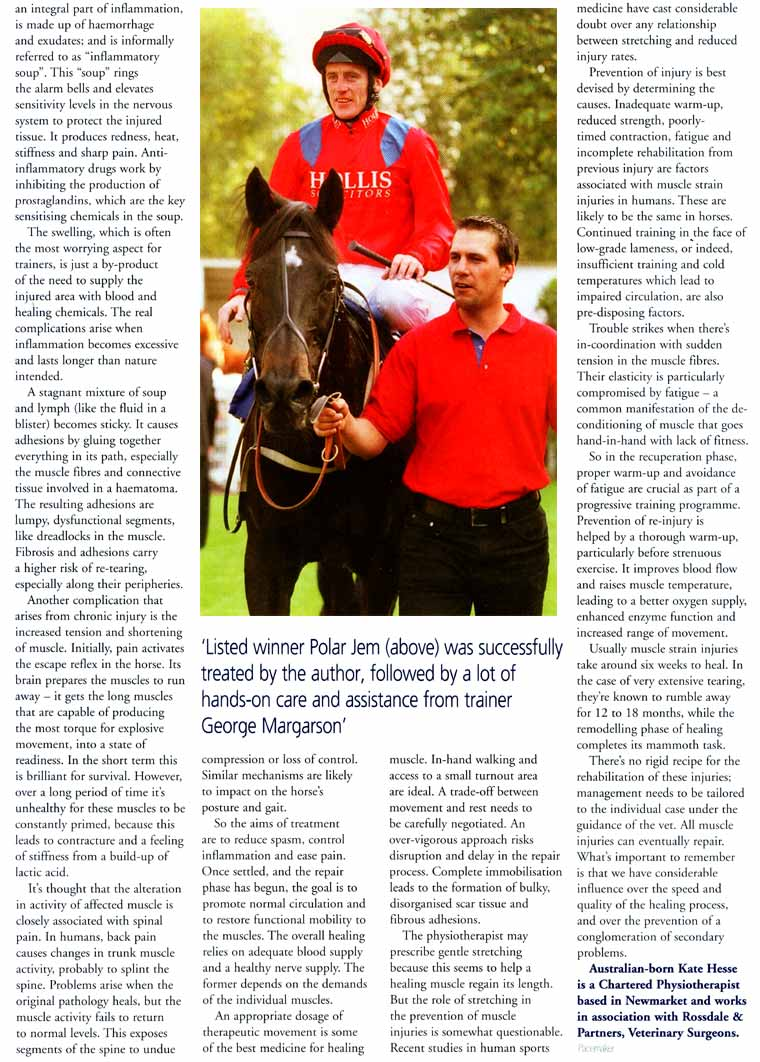 Kate Hesse, equine physiotherapy Pacemaker article