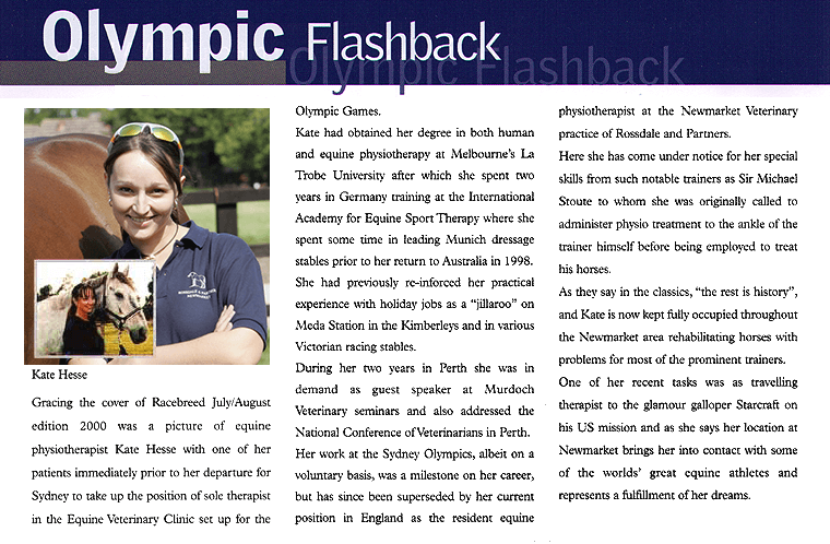 Racebreed Australia, March/April 2006 - Olympic Flash Back - Kate Hesse chartered veterinary physiotherapist