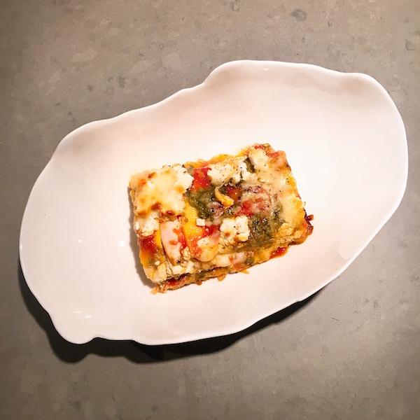 Snelle lasagne van pompoen, ricotta en pesto