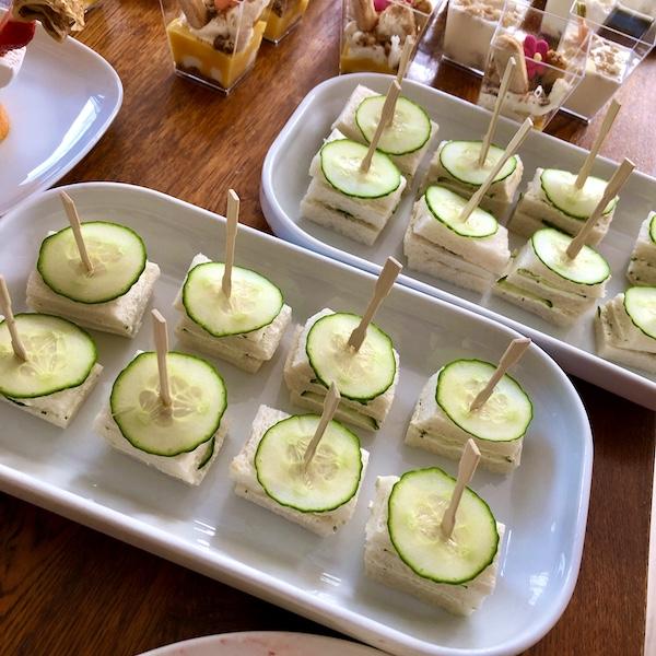 Komkommer sandwiches voor high tea