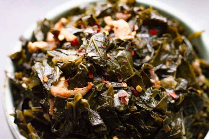 Spicy Southern Collard Greens With Bacon On Ty S Plate