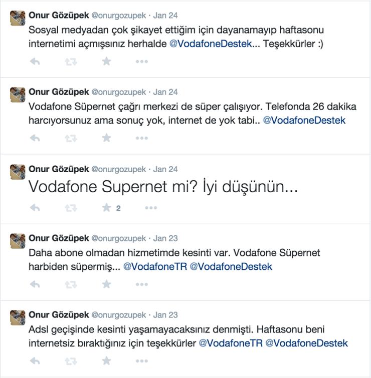 Vodafone Süpernet - Twitter mesajları