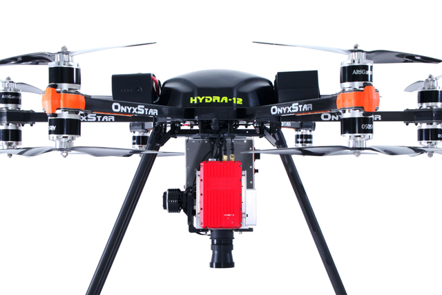 onyxstar hydra 12 drone uav uas heavy lifter gros porteur hyperspectral camera close - HYDRA-12
