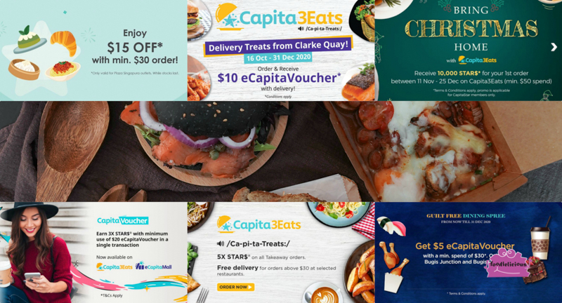 CapitaStar – Free Delivery, eCapitaVoucher & up to 5x STAR$ Rewards via Capita3Eats Food Order