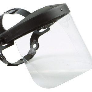 Gelaatsscherm polycarbonaat met verstelbaar harnas.
