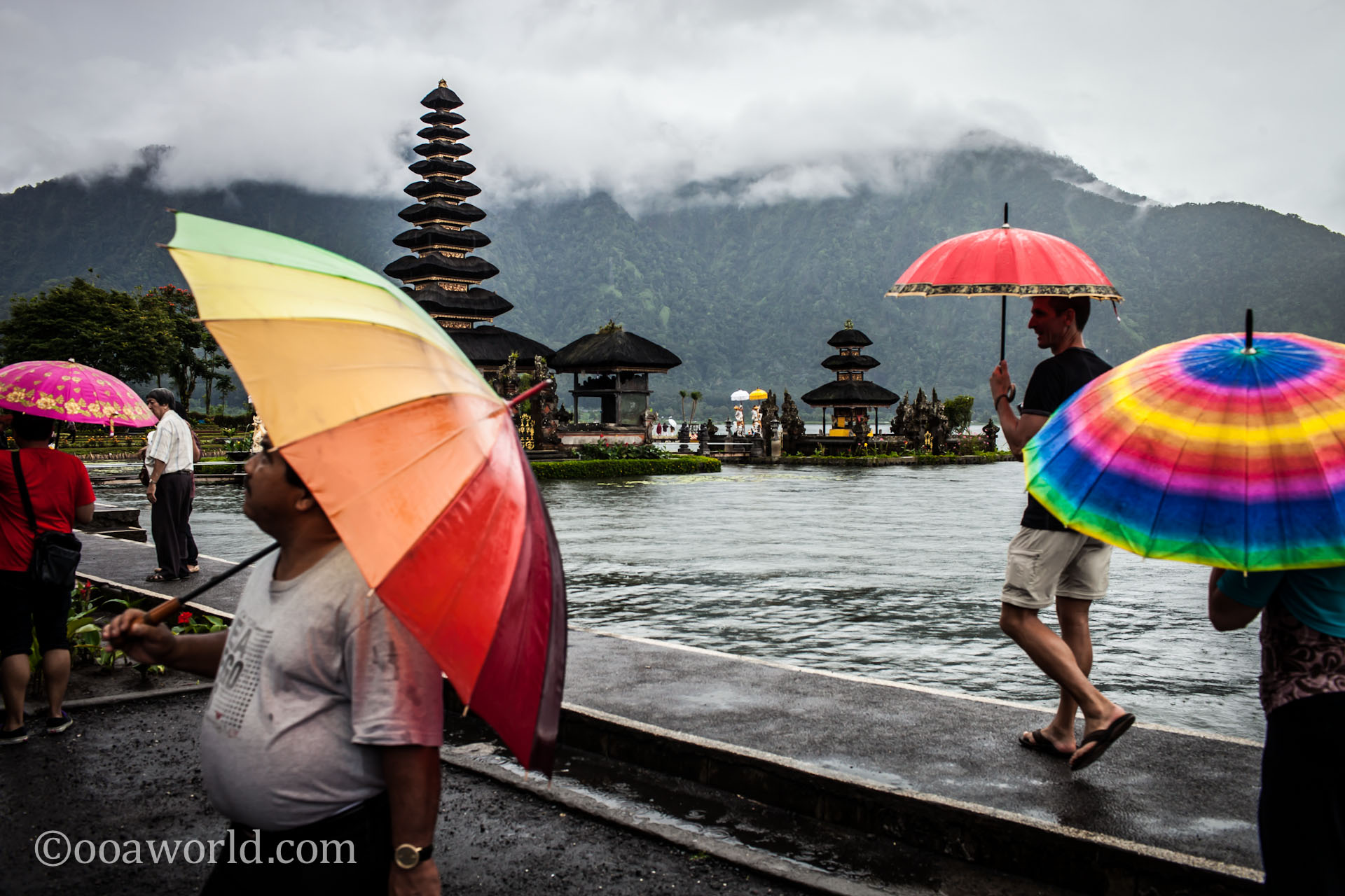 Pura Ulun Danu Bratan Color Umbrellas photo Ooaworld