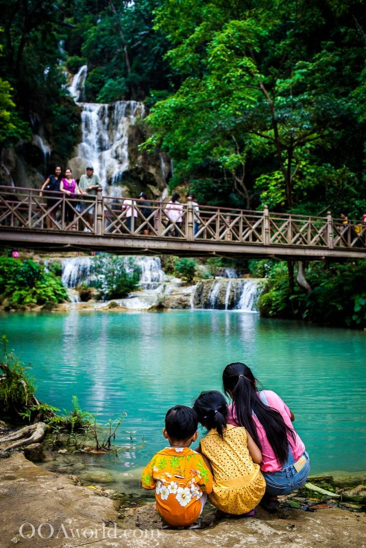 Kuang Si Falls Children Photo Ooaworld