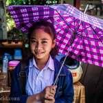 Laos Umbrella Girl Photo Ooaworld
