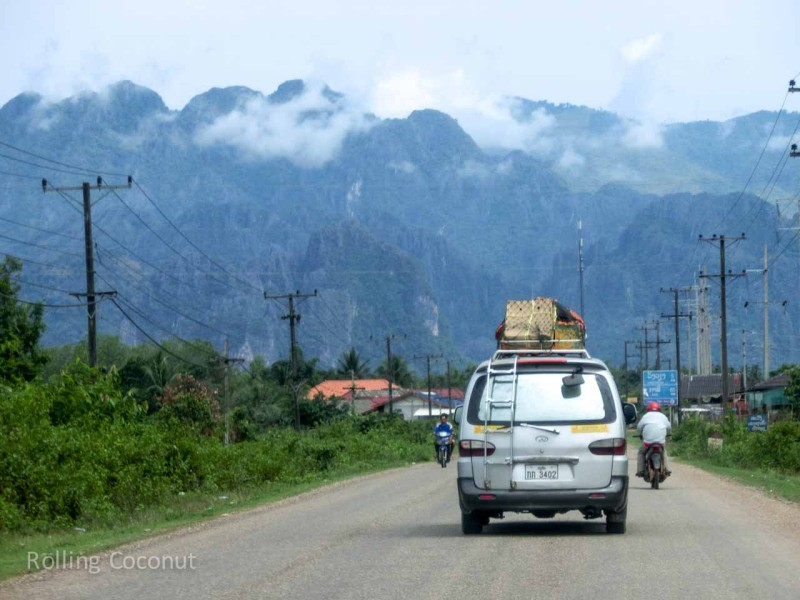 View of Mountains from Road approaching Vang Vieng Laos Rolling Coconut Ooaworld Photo Ooaworld