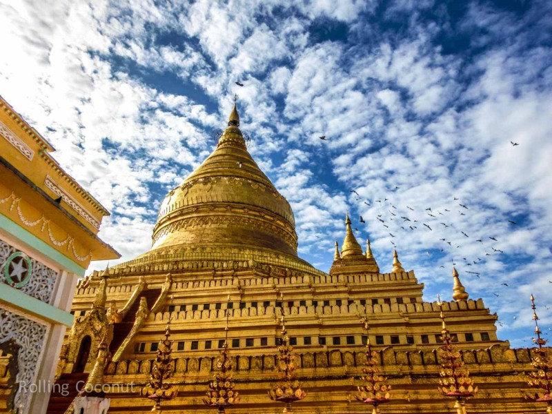 Gold Temple Sky Clouds and Birds Bagan Myanmar Ooaworld Rolling Coconut Photo Ooaworld