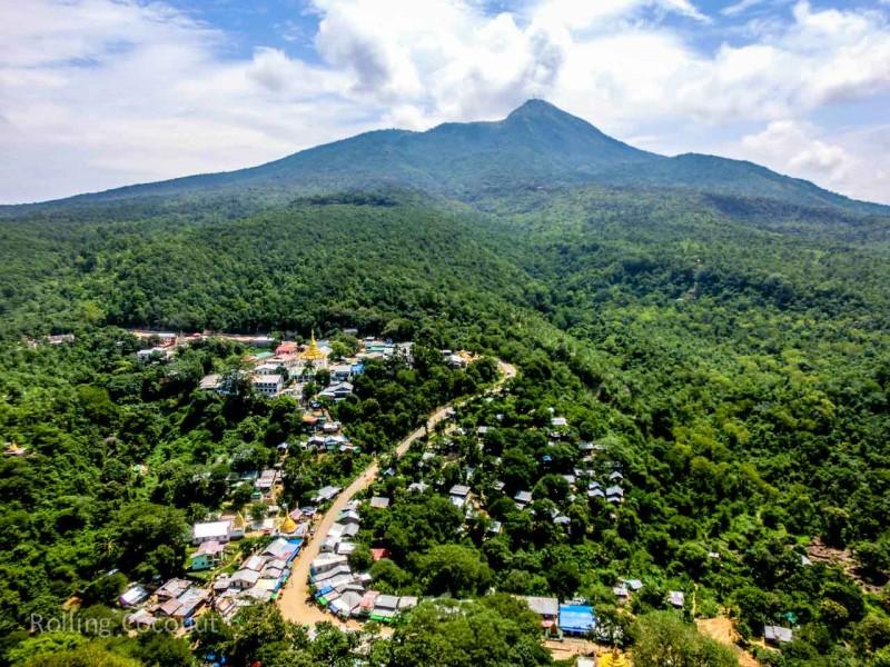 Hill View Mount Popa Bagan Myanmar Ooaworld Rolling Coconut Photo Ooaworld