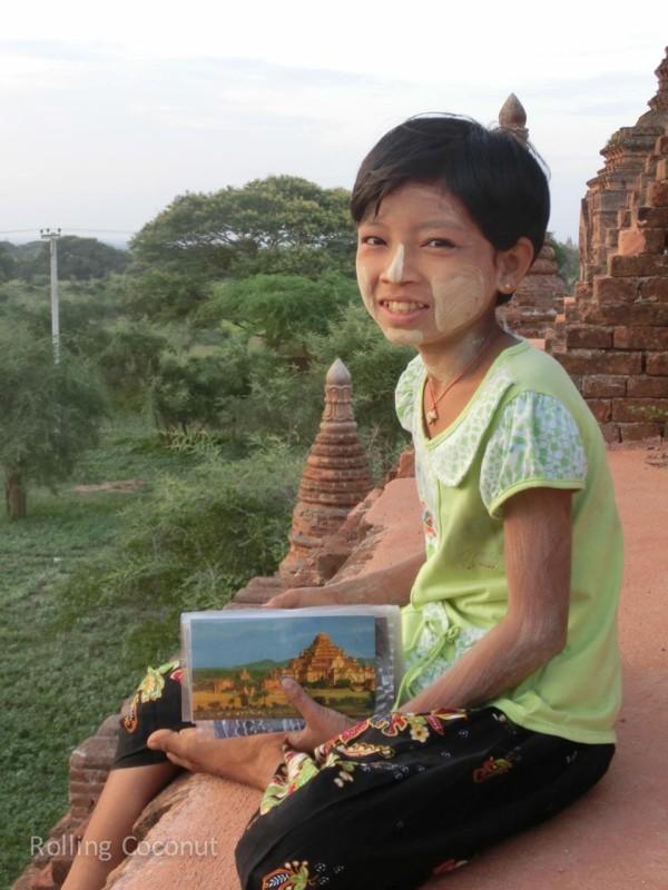 Little Girl Selling Postcards Bagan Myanmar Ooaworld Rolling Coconut Photo Ooaworld