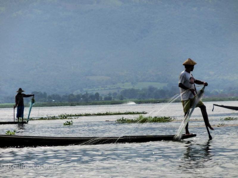 Fishermen casting Nets in Inle Lake Myanmar ooaworld Rolling Coconut Photo Ooaworld