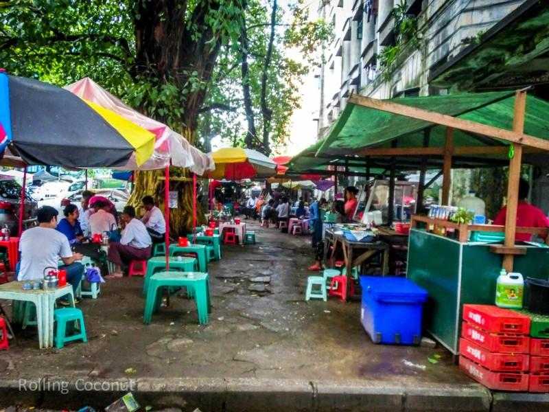 Street Food Stalls Yangon Myanmar ooaworld Rolling Coconut Photo Ooaworld