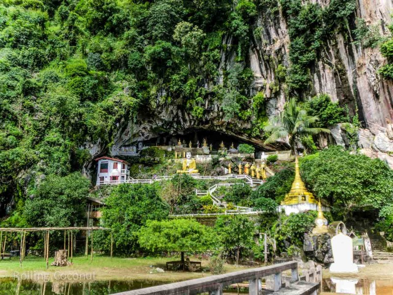 Myanmar Itinerary Hpaan Caves Buddha Rolling Coconut Ooaworld Photo Ooaworld