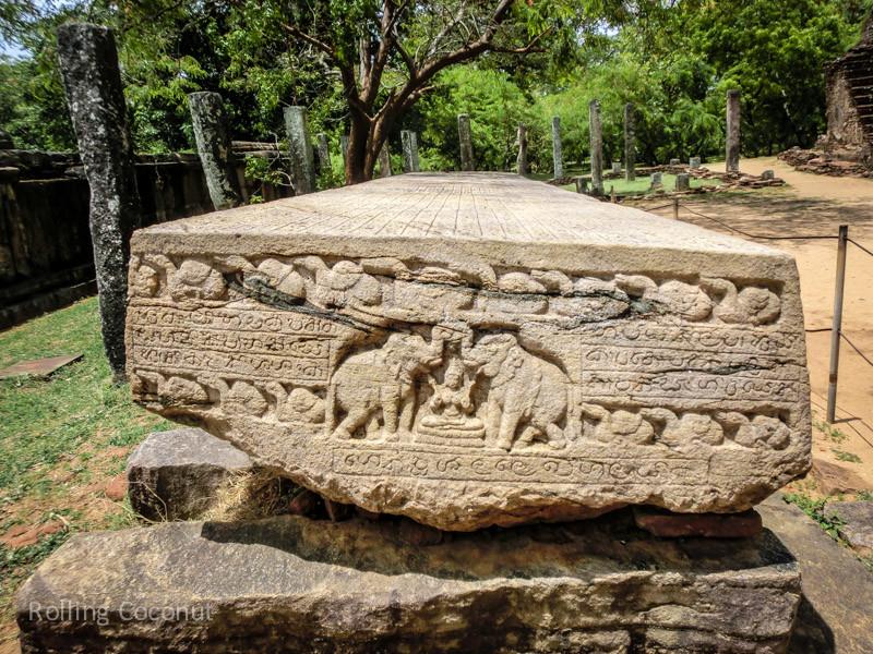 Elephants Carvign Stone Polonnaruwa Sri Lanka ooaworld Rolling Coconut Photo Ooaworld