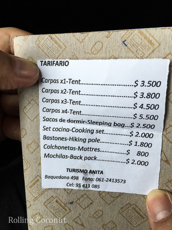 Torres del Paine Anita Rentals Prices Rolling Coconut OOAworld Photo Ooaworld