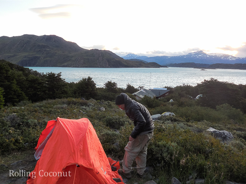 Torres del Paine Chile Refugio Los Cuernos Campsite Tent Rolling Coconut OOAworld Photo Ooaworld