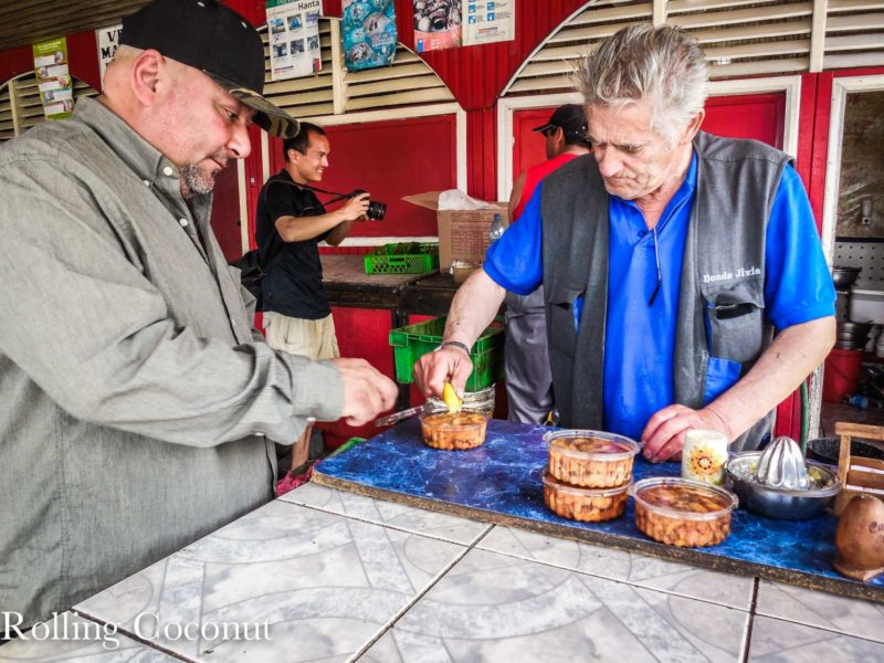 Chile Chiloe Sea Urchin Ceviche at Fish Market by the Pier Rolling Coconut OOAworld Photo Ooaworld