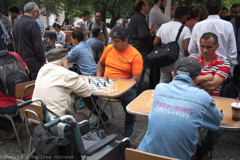 Santiago Plaza de Armas Chess Players  OOAworld Rolling Coconut Travel