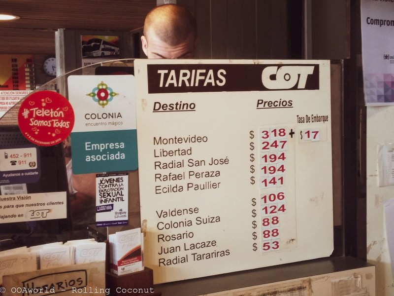 Bus Fare to Montevideo Uruguay Photo OOAworld Rolling Coconut